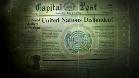 A loading screen from Fallout 3, featuring the Capitol Post